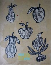 """Donald Baechler """"FRUITS"""" Original Lithograph & Relief Printing S/N"""