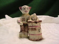 Vintage Salt & Pepper Shakers:  Cat holding a bucket Rare Japan