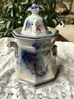 Antique Flow Blue Ironstone Sugar Bowl with Copper Luster  Circa 1840's