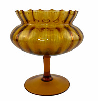 Vintage Amber Optic Glass Compote Pedestal Bowl Flower Vase Decor