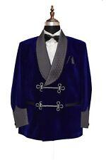 Men Blue Blazer Quilted Smoking Jacket Elegant Luxury Designer Party Wear Coat