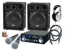 PA Anlage Karaoke Sound Lautsprecher Boxen Verstärker Mikrofon Kabel Set 1200W