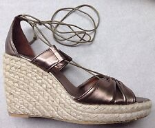 OFFICE Susie Bronze Gold Metallic Leather Espadrille 5 38 Lace High Sandal Shoe