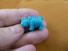 (Y-Rhi-523) Blue howlite Rhinoceros I love little Rhino Rhinos gemstone Figurine