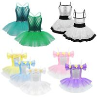 Kids Girls Glitter Ballet Dance Dress Tutu Skirt Dance Wear Gymnastics Leotards
