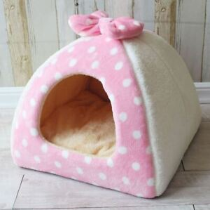 Warm Pet Dog Cat House Beds Tent Cushion Mat Puppy Kitty Indoor Tent Size S-L