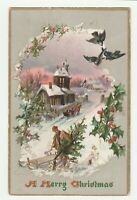 Vintage Postcard Christmas Man Carries Tree Church Sleigh Raphael Tuck