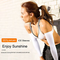 New UV Sun Protection Arm Cooling Sleeves Gloves Golf Bike Cycling Sports Cover