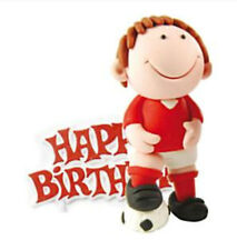 Footballer Cake Topper Figure Red Happy Birthday Claydough Non Edible Decoration