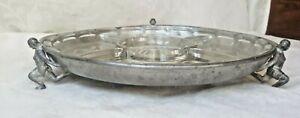 Antique Silver Plate Serving Platter Glass Insert Figural 4-Men Holding Base WoW