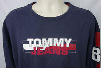 Hilfiger Mens 2XL Tee Shirt Tommy Jeans Spellout 85 LS Dated 2002 Blue Gray Red