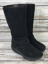 Women's Skechers Shape Ups Boots Black Suede Faux Fur Lining 24857 Size 8