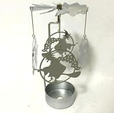 NEW METAL WITCH ON BROOM TEA LIGHT POWERED CAROUSEL SPINNING CANDLE HOLDER S24