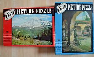 Lot 2 Vintage Guild Jigsaw Puzzle 304 MOUNT RAINIER MISSION SAN JUAN CAPISTRANO