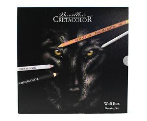 Cretacolor Wolf Box 25 Piece Artist Quality Drawing Set various Pencils Charcoal