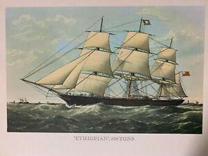 "Vintage Lithograph Print, The ""Ethiopian"" Clipper Ship, Nautical, sailing"