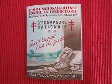 ANCIEN CARNET DE 10 VIGNETTES 20 ème Campagne contre la TUBERCULOSE 1950 Nestlé
