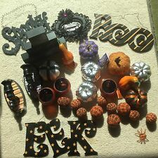 Mixed LOT Of 30 Cool Halloween Decorations Candle Holder Pumpkins Wall hangings