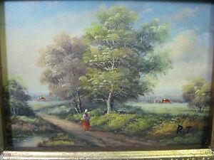 Bild  Landschaft Öl auf Holz goldener Rahmen  24 cm x 29 cm