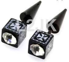 Fake Cheater Illusion Stretchers Ear Tapers 2G Look Clear Stone Anodized Cross