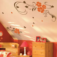 Large Vine Flower Butterfly Tree Wall Stickers / Wall Decals / Wall Art Mural