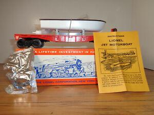 LIONEL O GAUGE # 6501 JET MOTOR BOAT TRANSPORT CAR, INSTRUCTIONS AND BOX