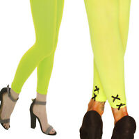 NEON FOOTLESS TIGHTS PLAIN OR WITH BOW TUTU  FANCY DRESS  PARTY CYBER RAVE