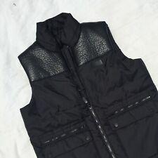Sean John Mens Medium Black Jacket Coat Vest with Faux Leather Patches Pockets
