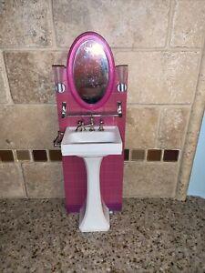 """2006 Barbie Bathroom Sink Mirror 11"""" # 0764"""
