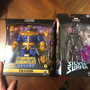 Marvel Legends  King Thanos Deluxe And Walgreens Fallen Obsidian Silver Surfer