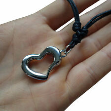 Valentines Day Love Heart Pendant Chain Necklace Womens Girls Ladies Silver Tone