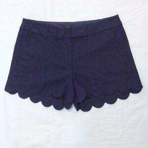 NEW Ladies J Crew Navy Blue Linen Blend Scalloped Hem Shorts Sz 10