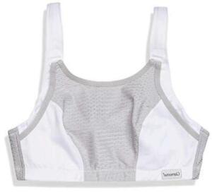 Glamorise Women's Double Layer Custom Control Sport Bra ,, White/Gray, Size 38D