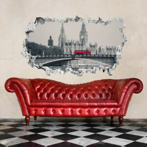 ADESIVO MURALE WALL STICKERS SQUARCIO MURO ARREDO LONDRA BIG BEN EFFETTO 3D