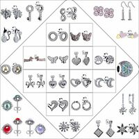925 Silver Plated Brand Crystals CZ Ear Studs Dangle Earrings Woman Jewelry Gift