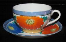 Vintage Blue Flower Orange Floral Dainty Porcelain Tea Cup & Saucer