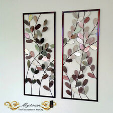 Pair Metal Tree Leaves Framed Wall Sculpture Hanging Home Decoration Gift 86cm