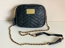 NEW BEBE ANN SUBWAY BLACK QUILTED CAMERA GOLD CHAIN CROSSBODY SLING BAG $78 SALE