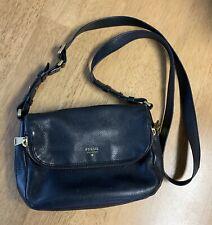 Fossil Preston Small Flap Cross Body Bag Black Pebble Leather Authentic