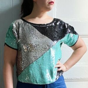 Vintage 80s polyester black white and red geometric abstract floral batwing top by Shapely