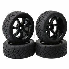 4 Sets 65x26mm RC1:10 On Road Car X Design Rubber Tyres + 7 Spoke Wheel Rims