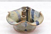 Studio Pottery Mid Century Modern MCM Signed J Wilson 3 stem bud vase Flower pot