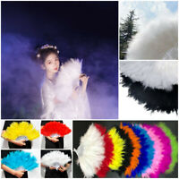 Chinese Ancient Wind Stack Feather Hand Fan Full Velvet Cheongsam Props Fashion