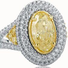 4 Carat Fancy Yellow Oval Cut Diamond Split Shank Halo Engagement Ring 18k Gold
