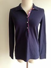 Lilly Pullitzer 1/2 Button Pique Polo Top Navy w/ a Hint of Purple Cotton Size S