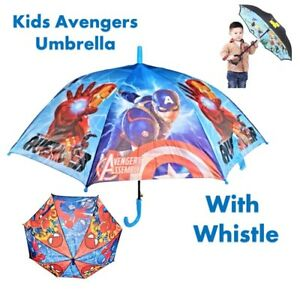 Kids Avengers Umbrella For Childrens School Cartoon Superhero With Whistle NEW