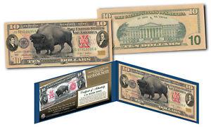 1901 Bison Buffalo / Lewis & Clark $10 Banknote on Genuine Modern $10 U.S. Bill