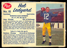 1962 POST CFL FOTBALL #85 Hal Ledyard EX+ Winnipeg Blue Bombers Chattanooga