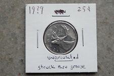 19?9 Canada twenty five 25 cents - struck through grease error