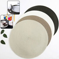 8PCS WOVEN ROUND PLACEMATS DINING TABLE PLACE MATS HEAT-INSULATED NON-SLIP NEW